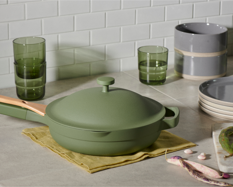 Green pan on a counter