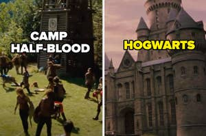 An image of Camp Half-Blood is on the left with Hogwarts on the right