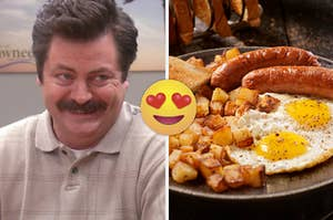 """Nick Offerman as Ron Swanson in the show """"Parks and Recreation"""" and a full English breakfast platter."""