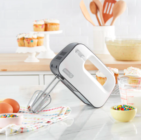 The slim hand mixer on a kitchen counter