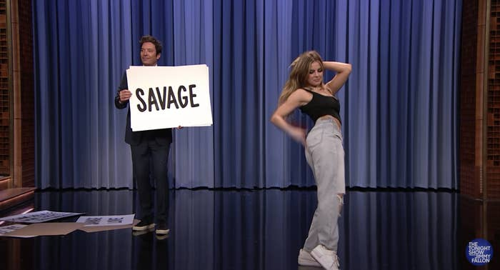 Addison Rae performing the Savage dance on Jimmy Fallon