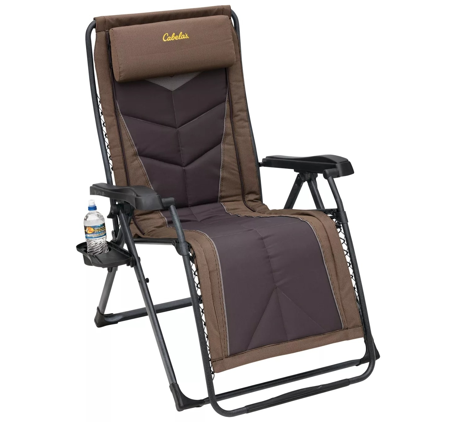 a lounge chair with a cup holder, arms, and a neck rest
