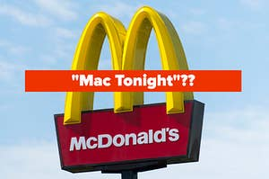"""The slogan """"Mac Tonight"""" over the McDonald's golden arches"""