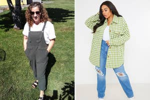 on left, reviewer in gray overalls and a T-shirt. on right, model in gingham-print shacket and jeans