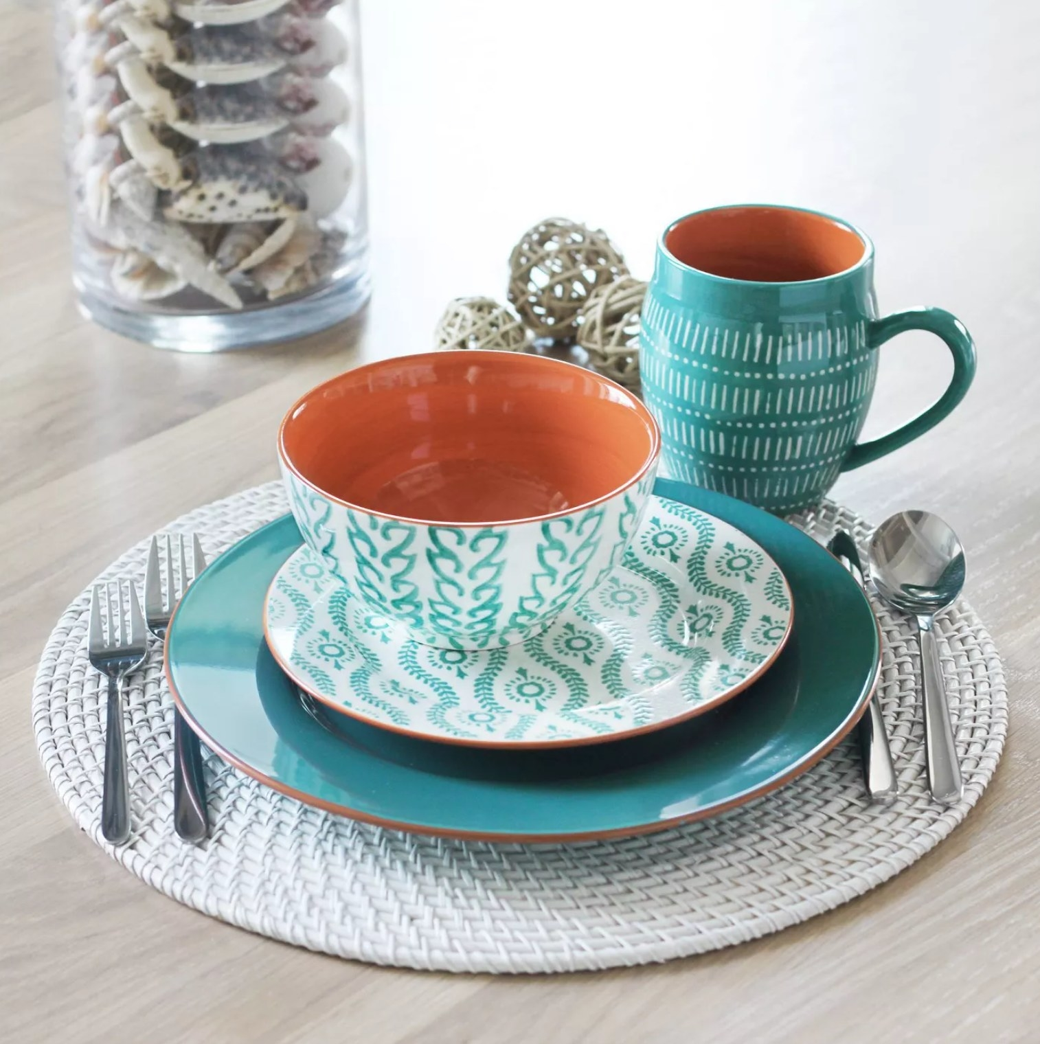 Part of the set with one dinner plate, one salad plate, one bowl, and one mug