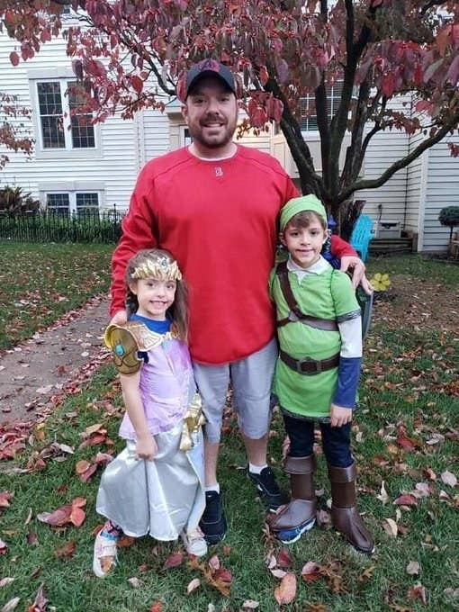 """William """"Billy"""" Evans is shown with his son and daughter on Halloween"""