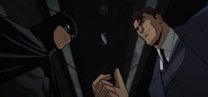 Batman watching while Two-Face flips a coin