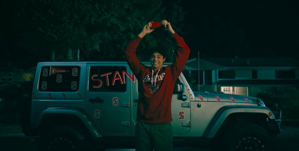 """Peter from """"To All the Boys"""" wearing Stanford gear"""