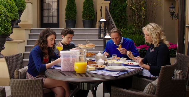 "Hollingsworth family eating breakfast by the pool on ""Degrassi"""