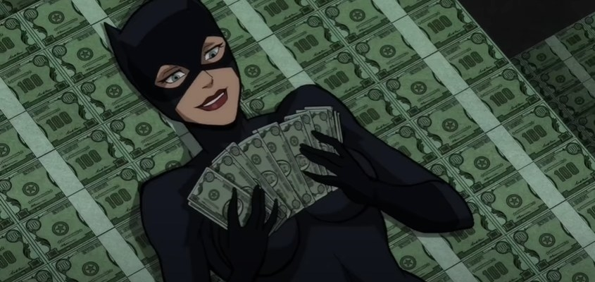 Catwoman counting money