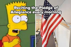 """Bart Simpson pledging to flag labeled """"Reciting the Pledge of Allegiance every morning"""""""