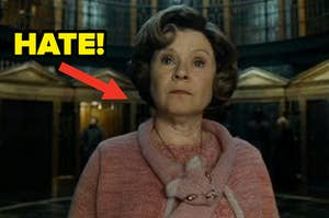 """Dolores Umbridge with an arrow pointing at her that says """"hate!"""""""