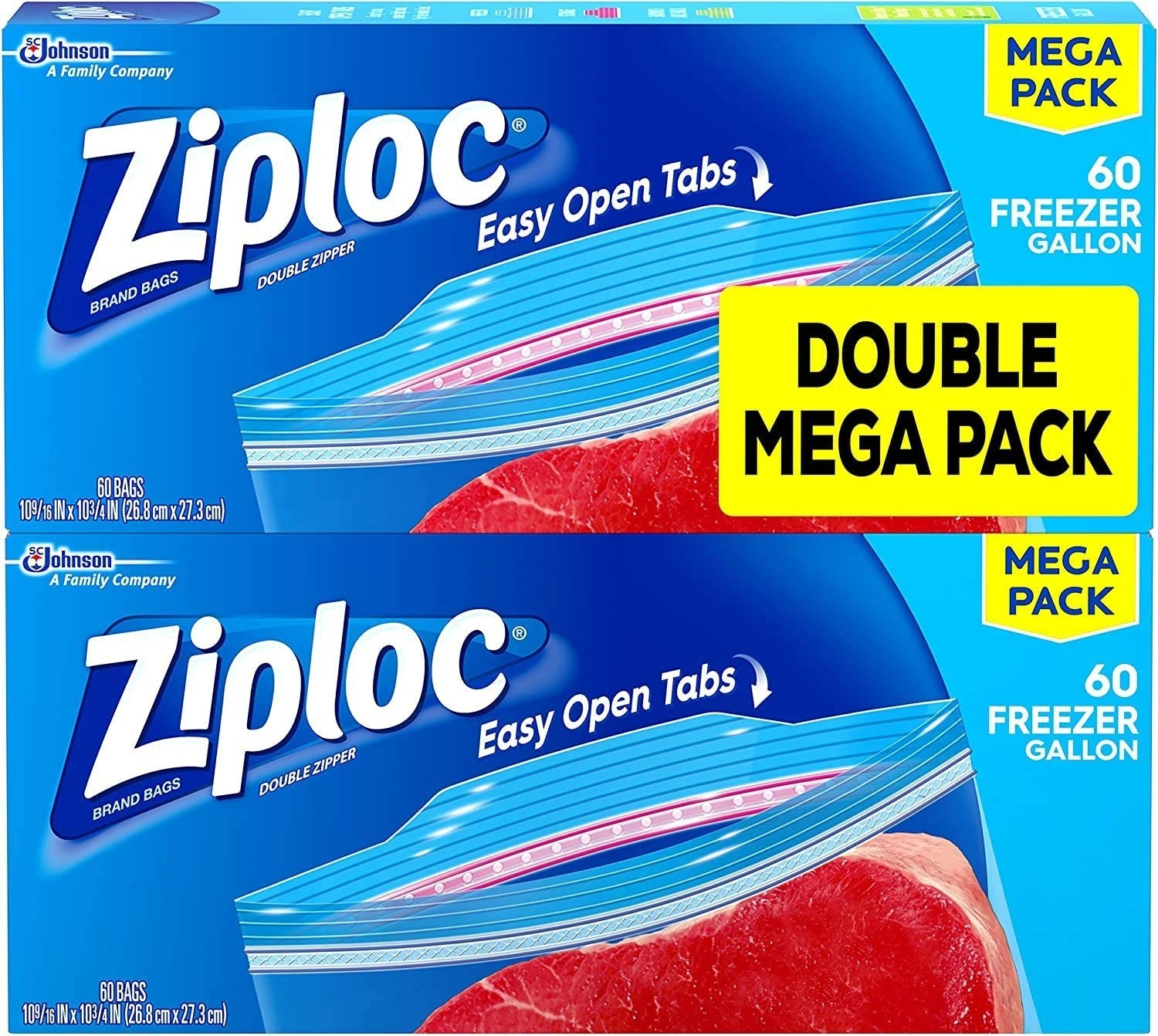 two boxes of ziploc freezer bags on top of each other