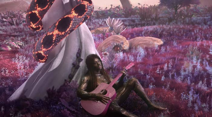 Lil Nas sitting against a tree and playing the guitar as a snake moves behind him