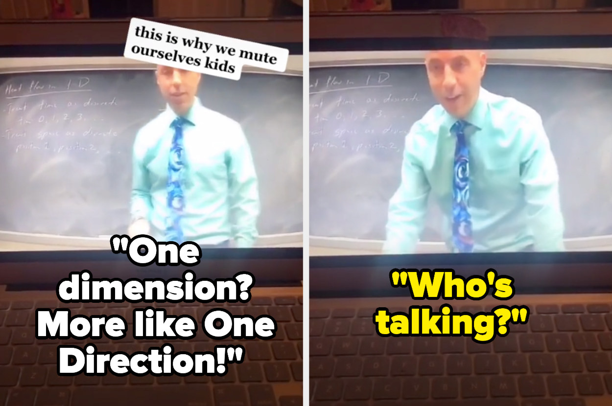 """girl saying """"One dimension? More like One Direction!"""" and the professor saying """"who's talking?"""""""