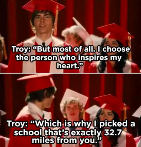 Troy chooses to go college near Gabriella