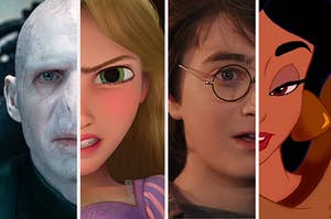 voldemort and rapunzel on the left and harry potter and jasmine on the right