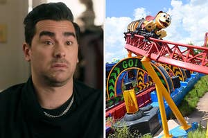 """David from """"Schitt's Creek"""" is on the left looking confused with a roller coaster on the right"""