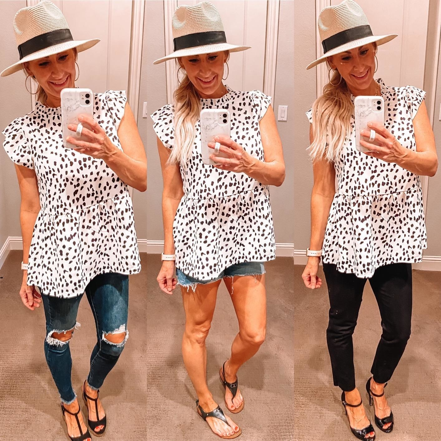 a reviewer wearing the white and black top in three different ways
