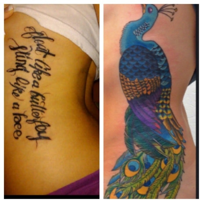 A poorly done tattoo of a quote a a huge cover-up of vibrant peacock
