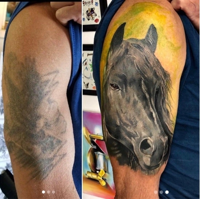 A huge very faded tattoo and a huge cover-up of a horses face