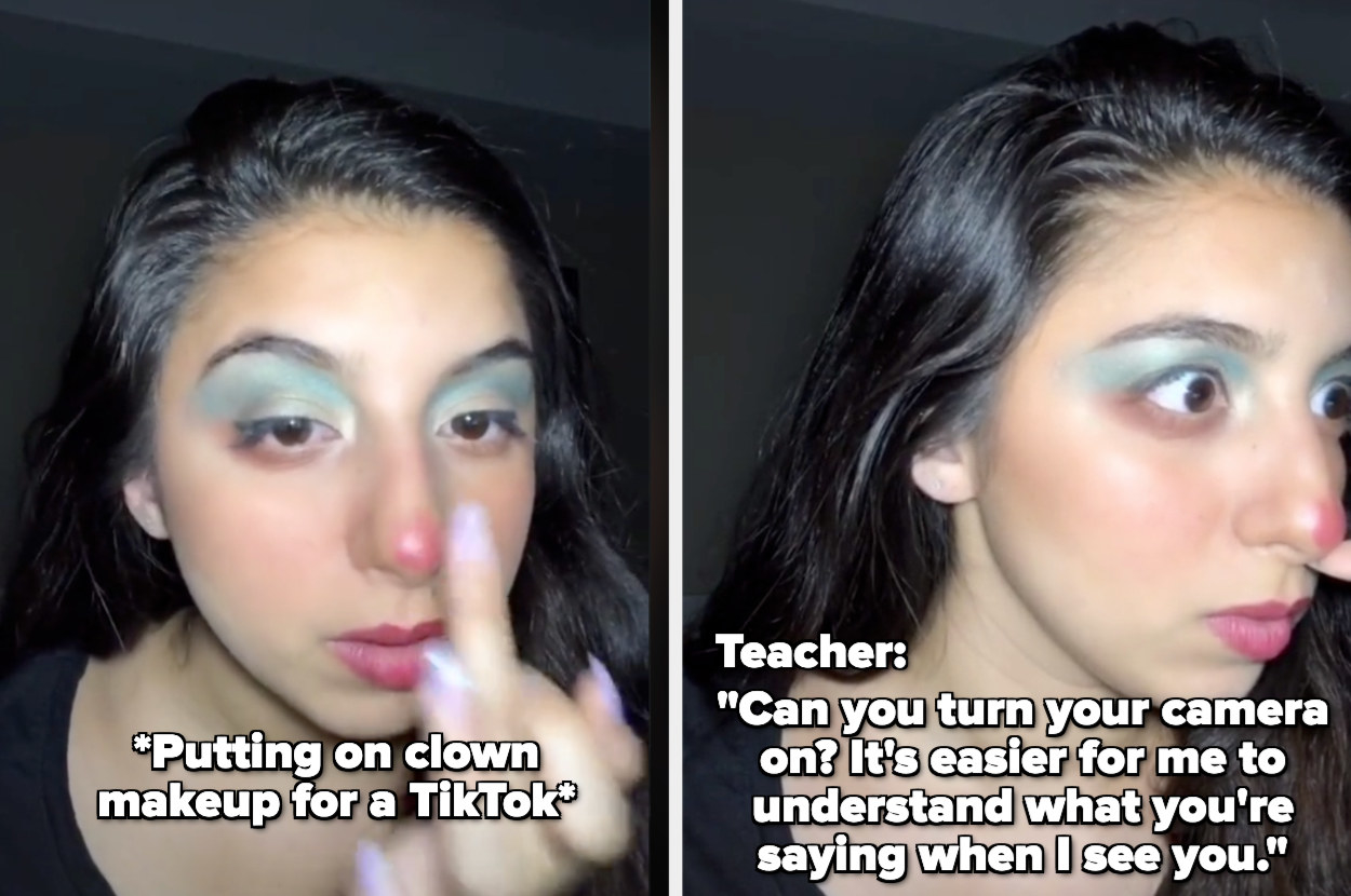 girl is putting on clown makeup for a TikTok, but then her teacher asks her to turn her camera on