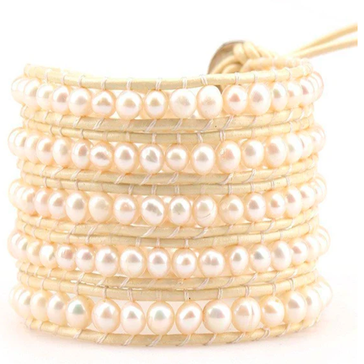 Wrap bracelet with five rows of pearls