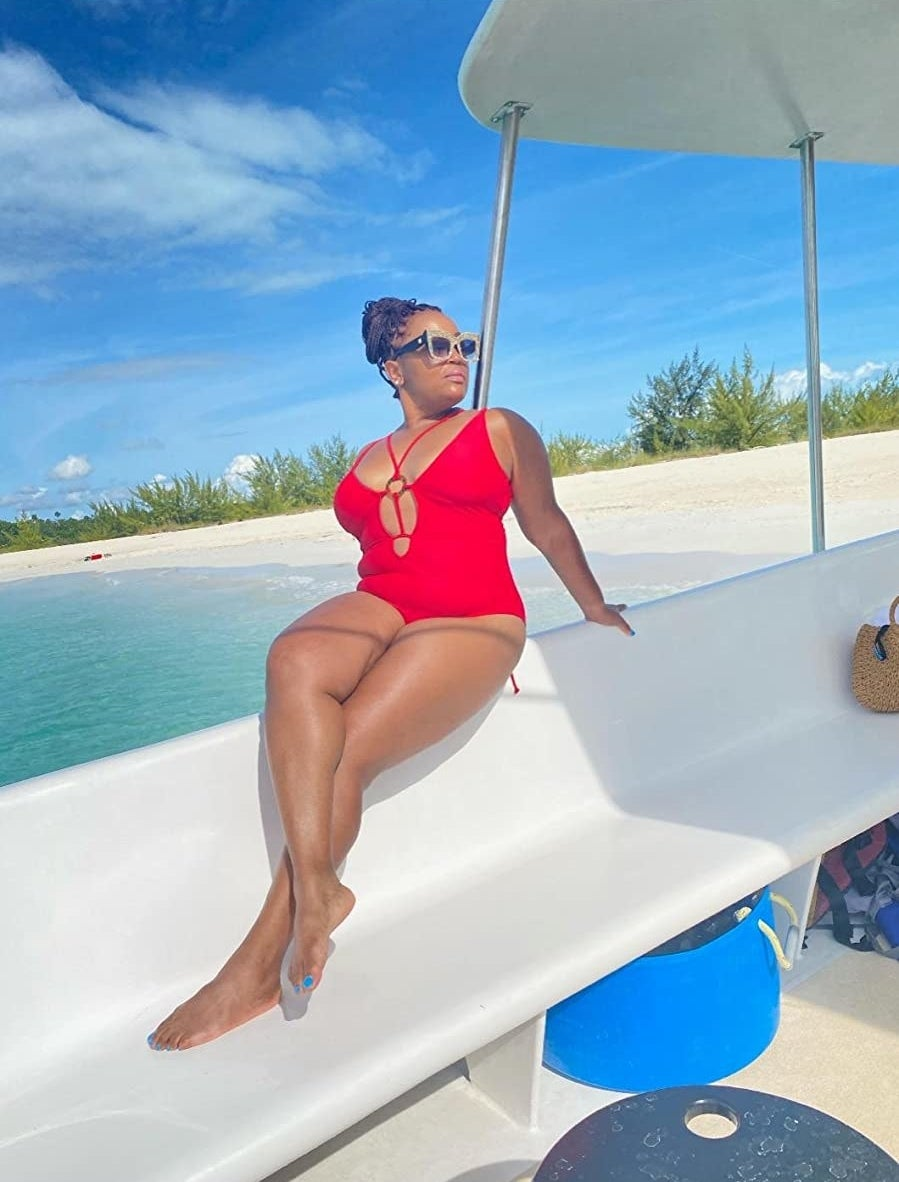 Reviewer in the red swimsuit