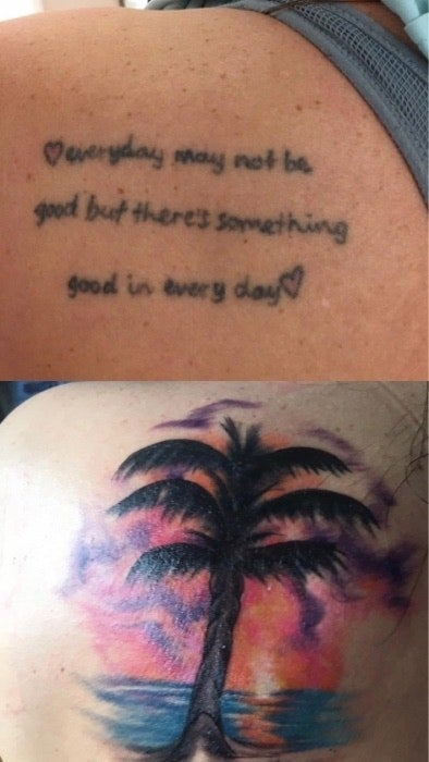 A tattoo of a quote and a colorful cover-up of a tree, the ocean, and sunset