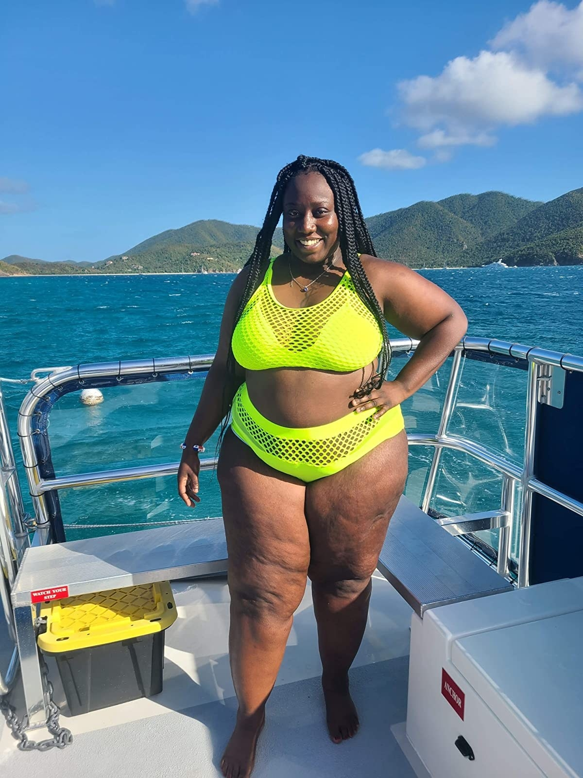 Reviewer in the lime green swimsuit