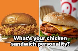 """A Popeyes sandwich is on the left with a Chick-fil-A sandwich on the right labeled, """"What's your chicken sandwich personality?"""""""