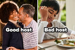"""Couple with the words """"Good host"""" and upset kid with the words """"Bad host"""""""