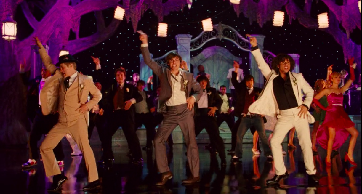 "Ryan, Troy, and Chad dancing at prom in ""High School Musical 3: Senior Year"""