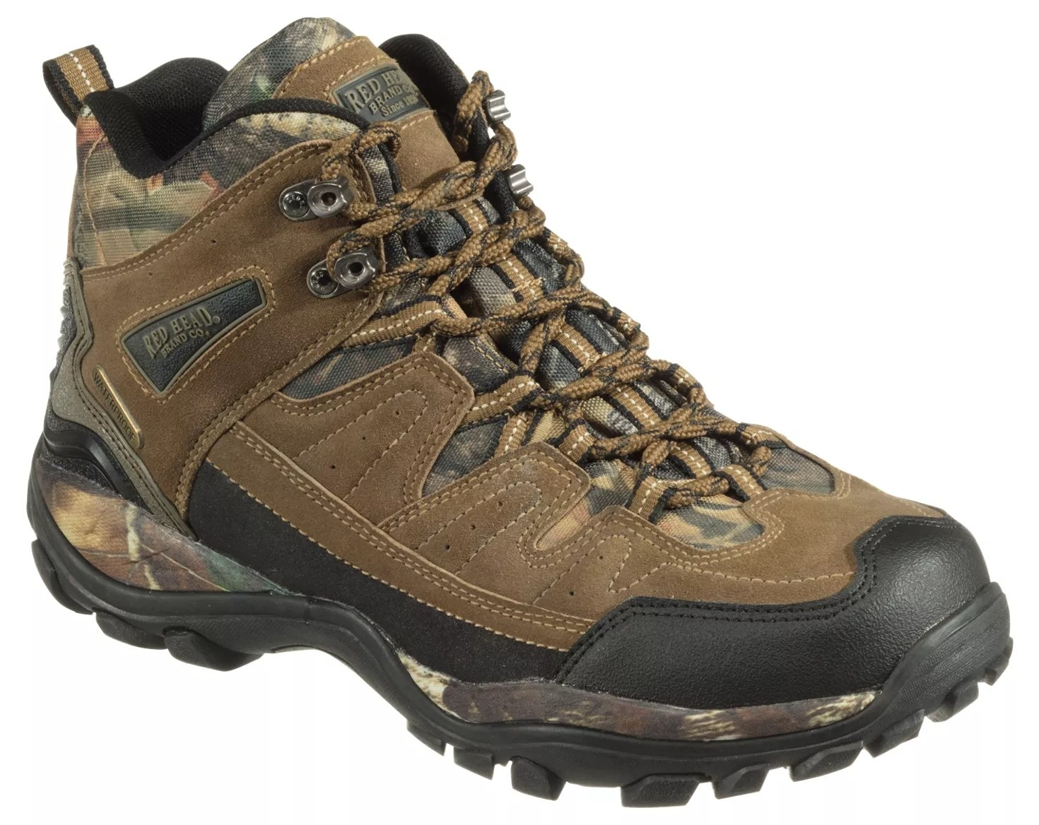 a brown, black, and camo hiking boot