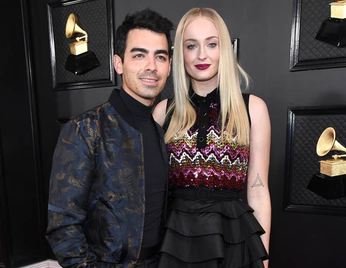 Joe and Sophie pose together at the Grammys