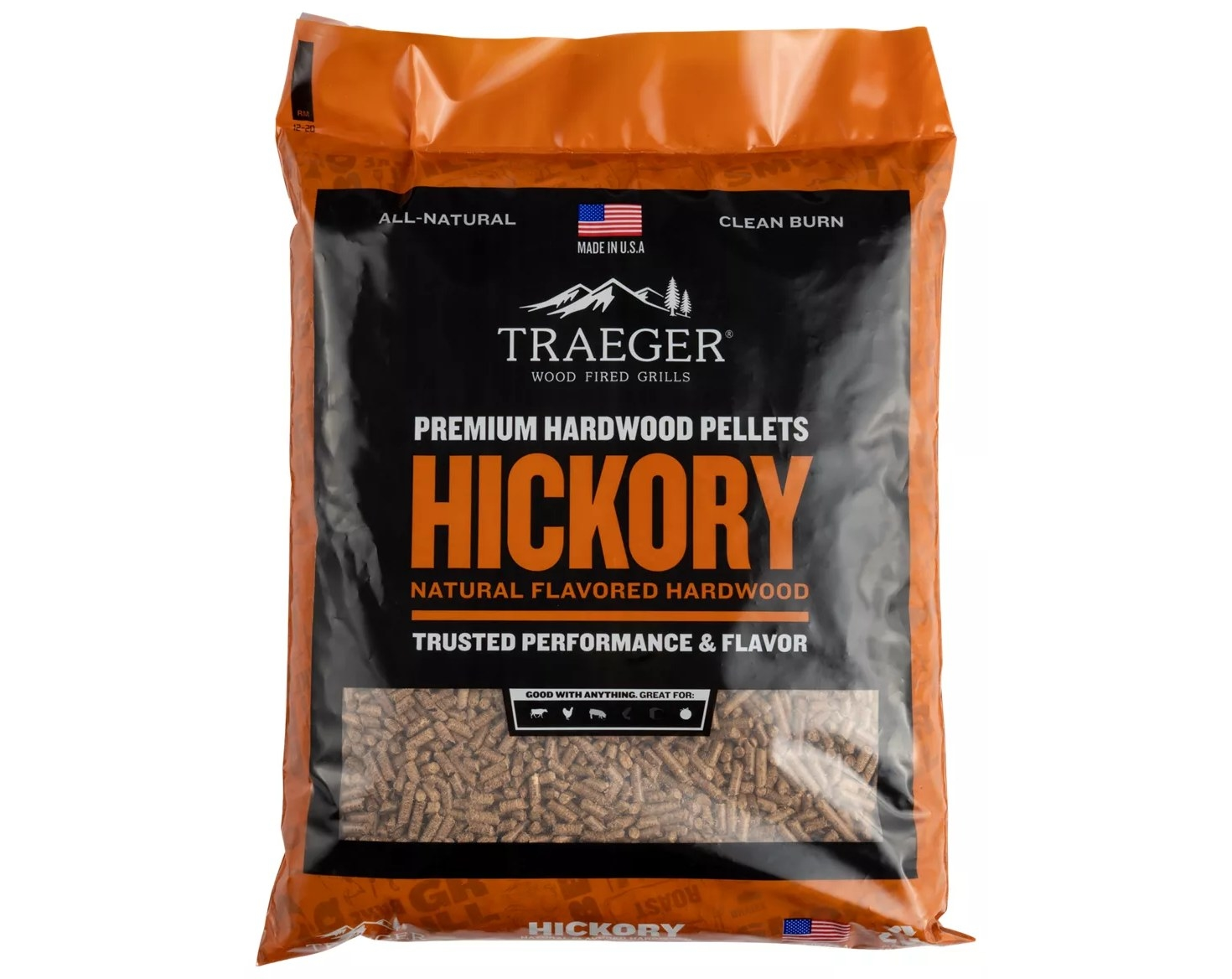 a back of hickory flavored wood pellets