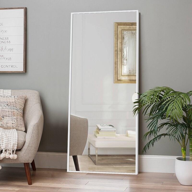 Floor mirror sitting up on living room wall