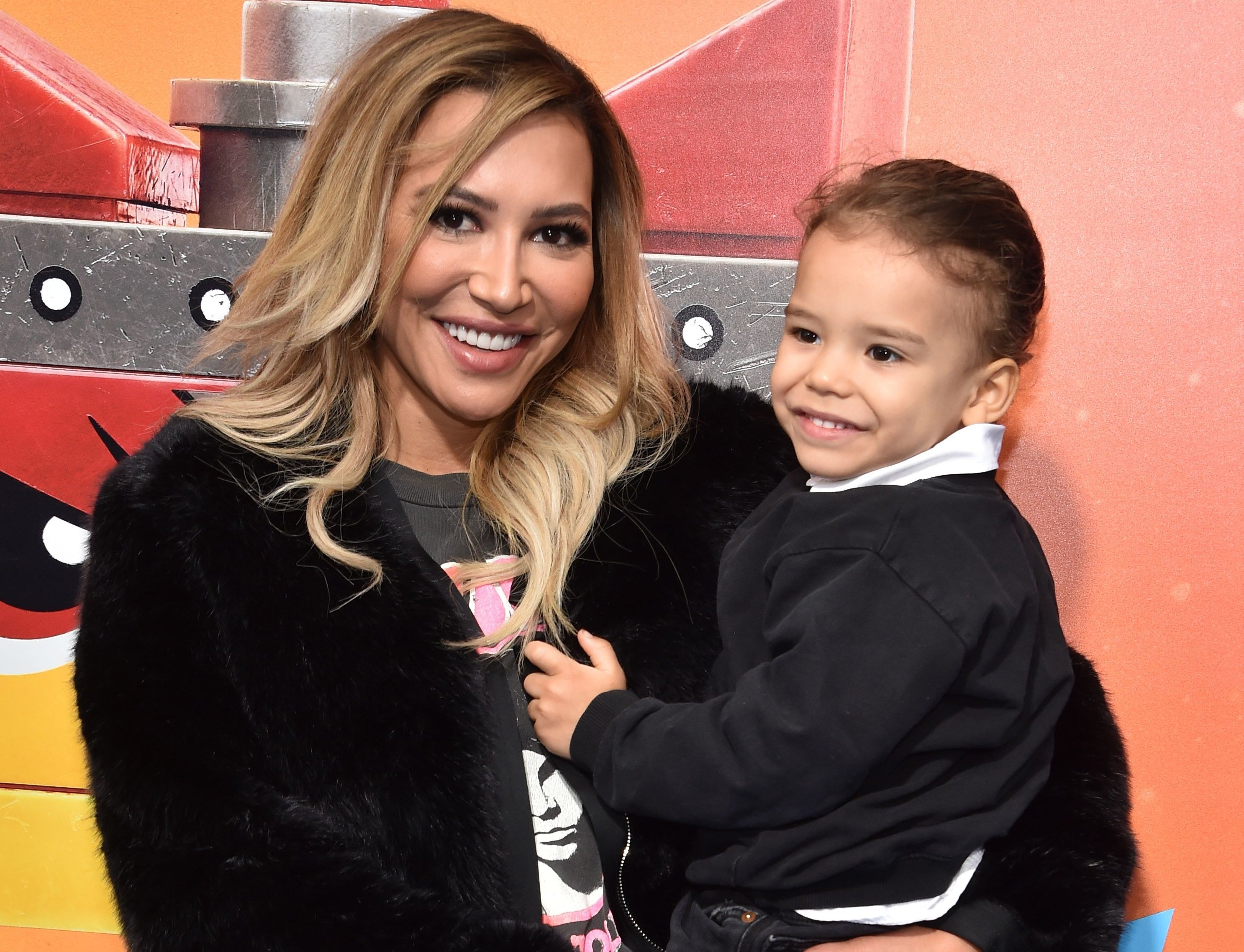 Naya poses with her son at movie premiere