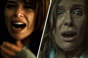 split image of two women scared and shocked from two movies, on the left is Neve Campbell from the movie scream and on the right is Toni Collette from the movie hereditary