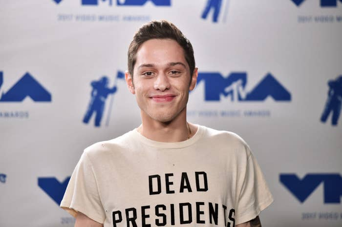 Pete Davidson poses in the press room during the 2017 MTV Video Music Awards
