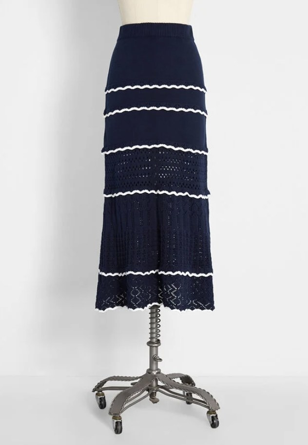 the skirt in navy with white detailing