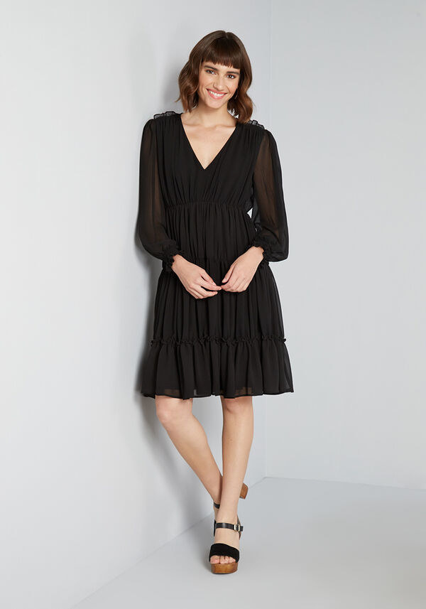 the dress in black on a model