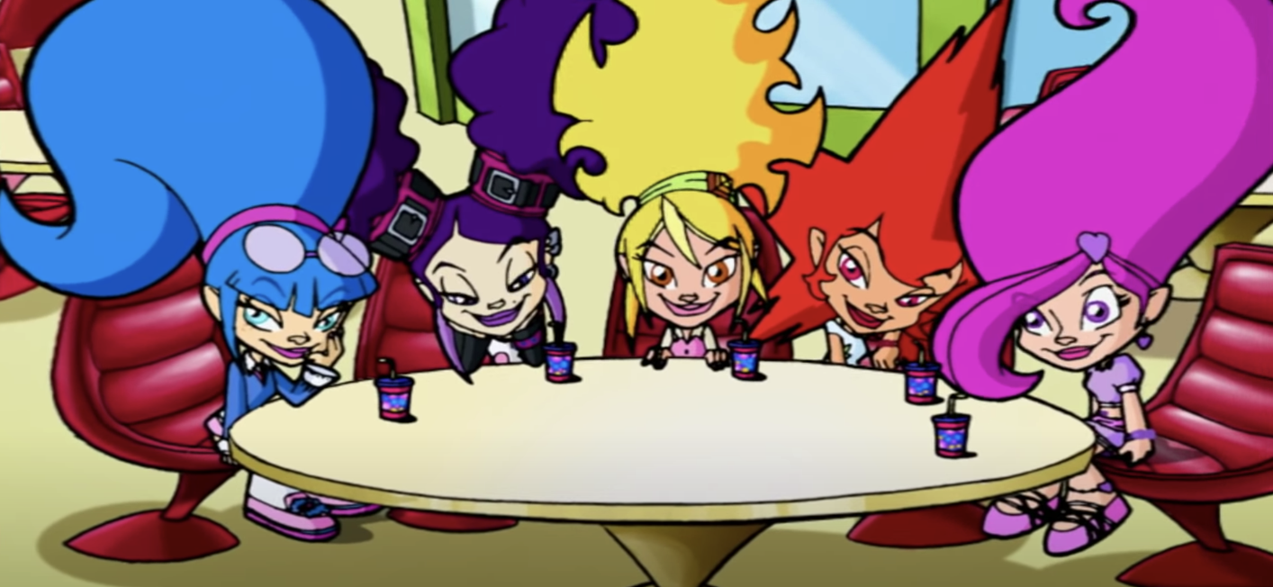 Sapphire, Onyx, Topaz, Ruby, and Amethyst sit around a table with drinks in front of them