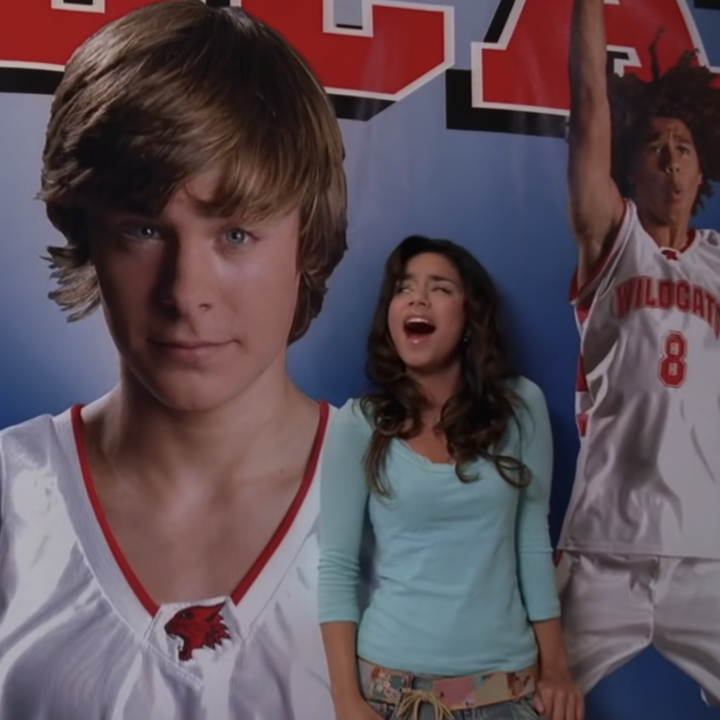 """Gabriella singing """"When There Was Me and You"""" to a poster of Troy"""