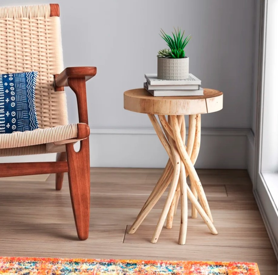 Wooden end table with twisted wooden base
