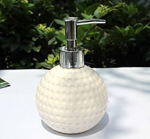 A white ceramic soap dispenser
