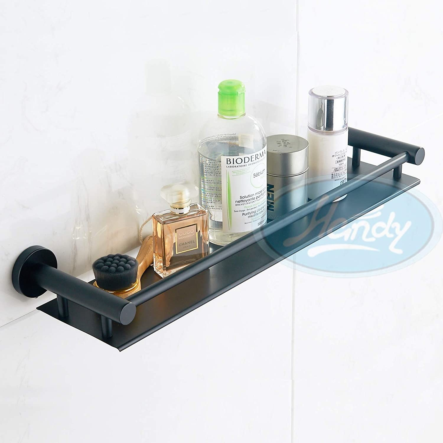 A black wall-mounted shelves with items on it
