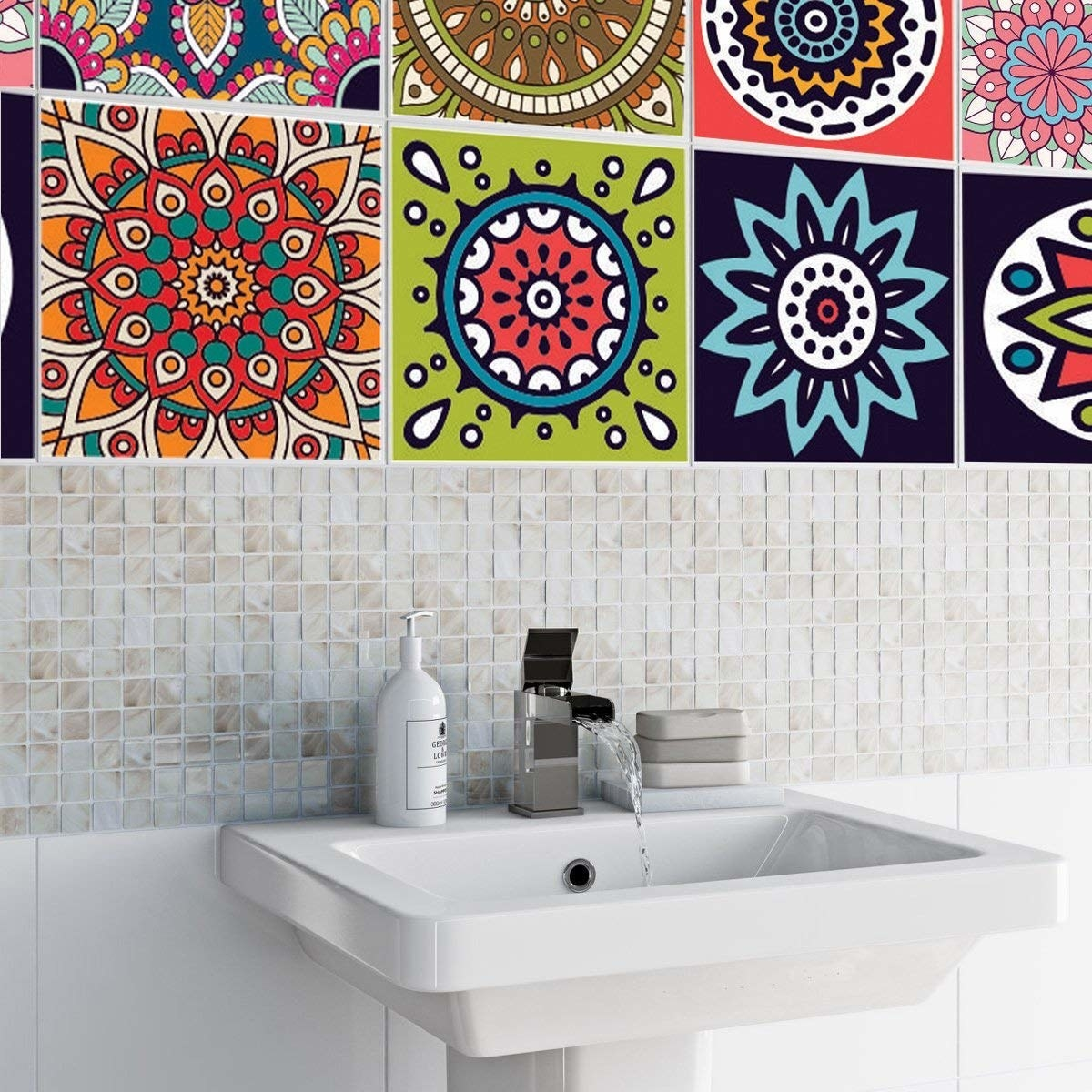 Tile stickers next to a sink