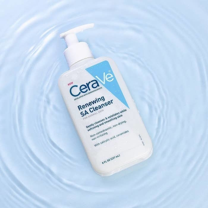 Cerave SA Cleanser against blue background