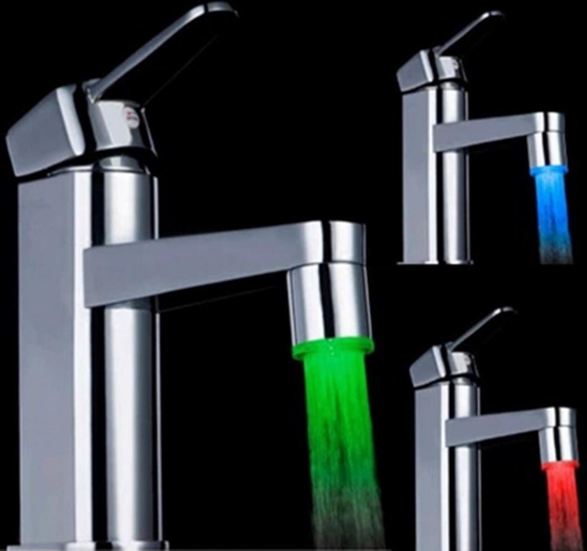 Colour-changing LED light on a tap